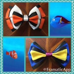 Marlin and Dory, from Disney Pixars Finding Nemo, inspired hair bows! #handmade…