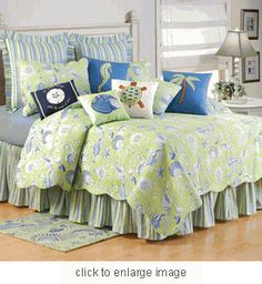 Green Shells Bedding Quilt Set