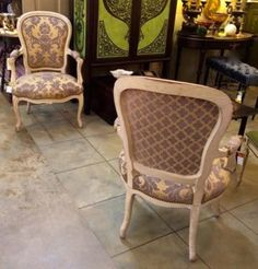 Turn of the Century Fauteuil Chairs   $1895   Grace Designs Booth #333  City View Antique Mall  6830 Walling Lane Dallas, TX 75231 French Country Furniture, Country French, French Chairs, Settees, Daybeds, Painted Furniture, Mall, Sofas, Accent Chairs