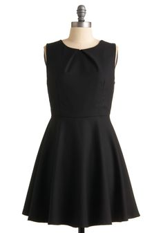 Be Noticed Dress - Black, Solid, Pleats, A-line, Sleeveless, Wedding, Party, Spring, Summer, Fall, Mid-length