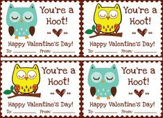 Valentine's day free printables - owl tags/labels