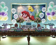 THE LITTLE MERMAID BIRTHDAY PARTY DECORATIONS A PEQUENA SEREIA ARIEL FESTA INFANTIL.15