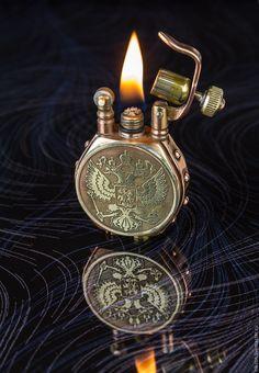 Купить Бензиновая зажигалка с двуглавым орлом. - зажигалка, бензиновая зажигалка, стимпанк стиль, Герб России