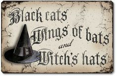 Vintage Style Halloween Plaque - Black cats, Wings of bats, and Witch's hats:  Fairy Freckles Studios