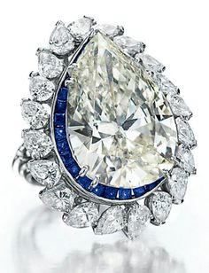 Elizabeth Taylor Collection.  Diamond and Sapphire Ring.
