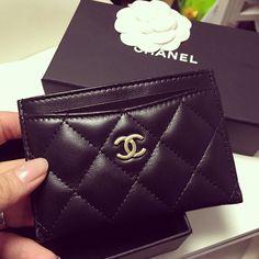 Chanel Classic card holder, Black Lambskin, Gold Hardware