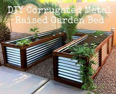 DIY Corrugated Metal Raised Garden Bed – The Decor Mama – diy garden landscaping Metal Raised Garden Beds, Building A Raised Garden, Raised Beds, Raised Planter Boxes, Metal Planter Boxes, Raised Patio, Raised Garden Bed Design, Raised Bed Gardens, Steel Planter