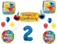 SESAME STREET 2nd Banner Happy Birthday Party Balloons Decoration Supplies Elmo #Anagram #BirthdayChild