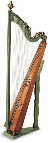 Hakenharfe with manual hooks mechanism.  The holes in the neck clearly indicate the presence of hooks to produce the accidentals, typical elements of German harps from the first half of the eighteenth century. The green color seen today on column and neck is painted over the original pale blue, while the ornamental urn crowning the column is a substitute for another figurine, now lost. Germany, beginning of the 18th century.