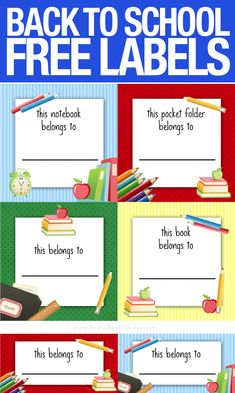 BACK TO SCHOOL free printables. Just print on sticker paper and put on your kids notebooks, folders, etc.