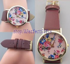 Floral watches Spring beautiful flower watch Brown Pink leather watches Women jewelry Vintage Style Valentine's day gifts victorian