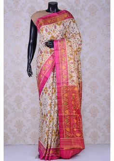 Cream & pink divine patola silk saree-SR22219