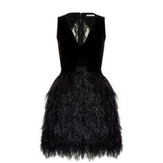 Alice + Olivia Kiara v-Neck Bell Shape Ostrich Feather Dress ($998) ❤ liked on Polyvore featuring dresses, black vneck dress, black ruffle dress, flutter dress, ruffle v neck dress and feather dress