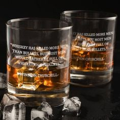 Winston Churchill Whiskey, Bullets Quote - D.F Whiskey/Bourbon/Scotch Set of 2 (Round or Square) - Whiskey has killed more men than bullets. Bourbon Whiskey, Whisky, Bourbon Glasses, Original Quotes, Winston Churchill, Scotch, Pint Glass, Whiskey Bottle, Bullets