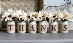 Thanksgiving Decor,Thanksgiving Centerpieces,Fall Table Decor,Rustic Decor,Thanks Mason Jars,Thanksgiving Table Decor,Thanks Sign,Fall Decor by LoveLiveNCreate on Etsy https://www.etsy.com/listing/250514825/thanksgiving-decorthanksgiving