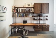 as4 desk configuration in solid walnut & cold-rolled steel photograph by: Atlas Industries