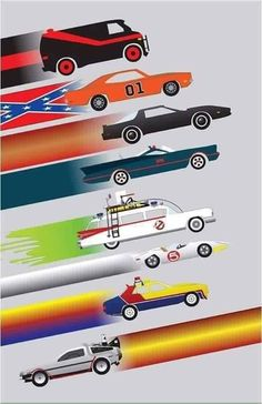 Cars of your childhood poster Back To The Future, Future Car, Plakat Design, Posters Vintage, Bmw Autos, Speed Racer, Car Posters, Old Cars, Vintage Cars