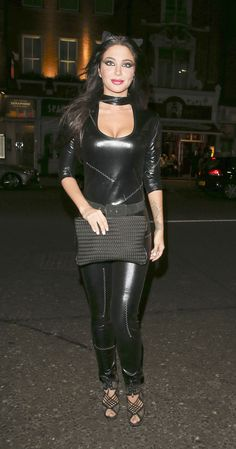 Stepping out: Tulisa Contostavlos was spotted at London's Bodo's Schloss on Friday night. Leather Catsuit, Leather Pants, Tulisa Contostavlos, Girls Foto, Wet Look Leggings, Latex Fashion, Women's Fashion, Female Singers, Sexy Hot Girls