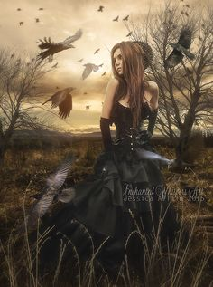 The Birds by EnchantedWhispersArt on DeviantArt Gothic Fantasy Art, Fantasy Art Women, Fantasy Images, Raven Photography, Creative Photography, Fairy Pictures, Pretty Pictures, Pretty Pics, Gothic Artwork