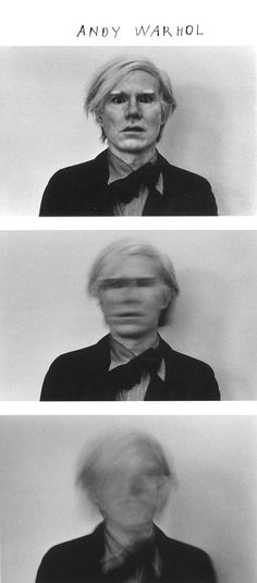 Duane Michals Andy Warhol, 1972. Shows movement with different exposures. Usually has a triptych