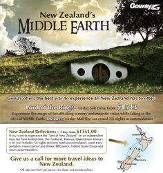 Travel specials to New Zealands Middle Earth - Lord of the Rings Self Drive from $1543 and New Zealand Reflection coach tour from $1351  http://taylormadetravel.agentarc.com  taylormadetravel142@gmail.com  call 828-475-6227