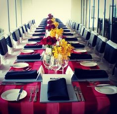 Red Stripe Organza Overlay with Black Napkins