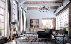 industrial loft design photos | Beautiful Industrial Loft Design | Living Room