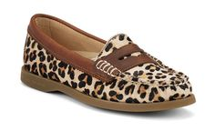 Sperry cheetah penny loafers
