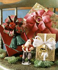 Make Festive Bows. What you need: 1 block floral foam or Styrofoam, approximately 10 inches long, 3 inches wide, and at least 2 inches deep. Two 6-inch lengths of 1/4-inch dowel (other diameters can also be used.) Ribbon as desired. Scissors