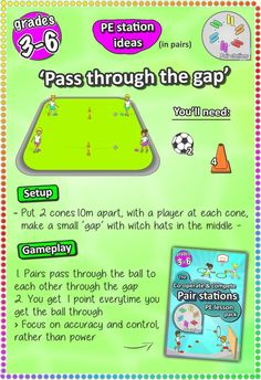 Co-operate & Compete: 6 fun pair skill-stations cards (printable) Soccer skill station games for kids and elementary grades – check more PE lesson ideas here Physical Education Activities, Pe Activities, Health And Physical Education, Gym Games For Kids, Soccer Drills For Kids, Exercise For Kids, Fun Games, Soccer Practice Plans, Elementary Pe