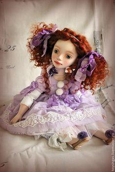 Купить Violet! - сиреневый, рыжий, кукла ручной работы, кукла, кукла в подарок, кукла интерьерная