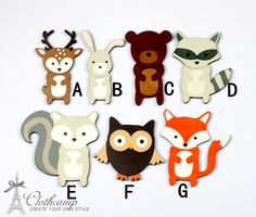 7pcs Handmade Wooden Cute Owl Fox Deer Bear  rabbit wolf Animal Collection Charms / Pendants WO-B