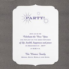 Sparkling Party - Invitation I like the shaping of this