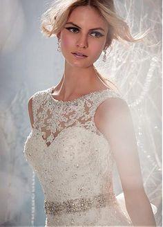 Stunning Organza & Satin A-line Illusion Bateau Neck Raised Waistline Wedding Dress