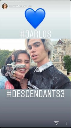jarlos Carlos Descendants, Disney Channel Descendants, Descendants Cast, Disney Channel Stars, Disney Stars, Cameron Boyce, Brenna Damico, Mal And Evie, Disney Decendants