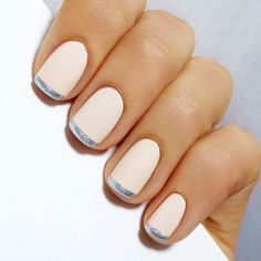 White French nails with silver stripe tips