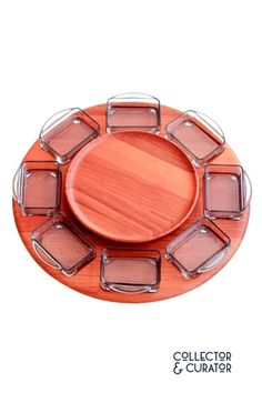 Digsmed Teak Lazy Susan Gray Glass Dishes Grey Glass, Lazy Susan, Glass Dishes, Mid Century Modern Design, Teak, Mid-century Modern