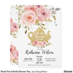 Shop Blush Floral Bridal Shower Tea Party Invitation created by LollipopParty. Personalize it with photos & text or purchase as is! Garden Party Invitations, Watercolor Wedding Invitations, Bridal Shower Invitations, Glitter Invitations, Invites, Party Favors, Tea Party Bridal Shower, Shower Party, Floral Wedding