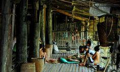 Rumah Betang, Rumah Adat Dayak Iban. Kapuas Hulu. Kalimantan Barat. Indonesia