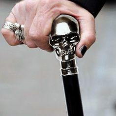Men's Brass Skull Dandy Cane by Alexander McQueen