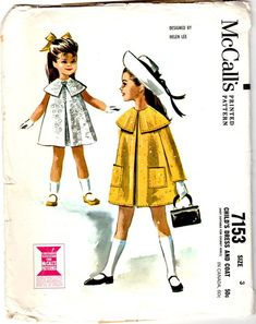 Items similar to UnCut Vintage 1963 McCall's 7153 Sewing Pattern - Girls' Size 3 Dress and Coat on Etsy Vintage Kids Clothes, Vintage Girls, Vintage Children, Vintage Dress, Sewing Patterns For Kids, Mccalls Patterns, Vintage Sewing Patterns, Pattern Sewing, Helen Lee