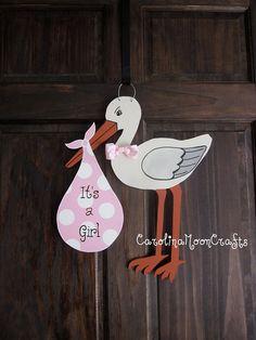 Items similar to New Baby Girl Stork Door Hanger Door Decor - It's a girl, New Baby Wreath on Etsy New Baby Girls, My Baby Girl, Baby Love, Baby Door Hangers, Hospital Door Hangers, New Baby Wreath, Baby Wreaths, Storch Baby, Baby Kranz