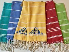 Colorful Turkish monogrammed dish towels