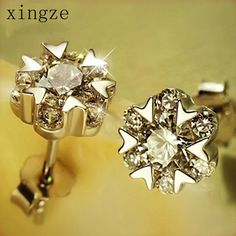 Find More Stud Earrings Information about High quality silver plated jewelry elegance snowflake zircon silver plated stud earrings for women fine jewelry wholesale,High Quality silver fish hook earrings,China earrings cartilage Suppliers, Cheap silver sapphire earrings from Xingze Jewelry store on Aliexpress.com