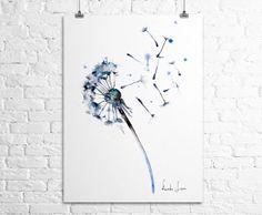 Dandelion Flower Giclee Art Print Watercolor by WatercolorPrint, $30.00