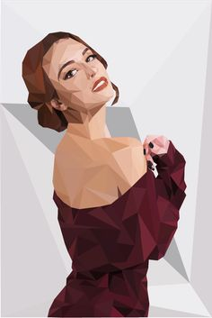 Low poly artwork of a beautiful girl.