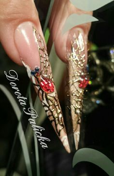 nail art, liquid stone and transfer foil by Dorota Palicka international nail artist