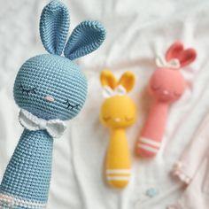 Crochet rattle pattern, rattle bunny, amigurumi pattern