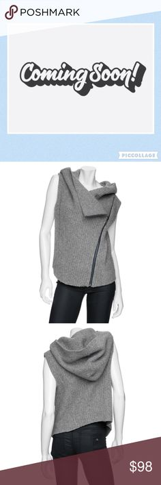 "Helmut Lang L Moto Vest Hoodie Sleeveless Sweater Helmut Lang L Sleeveless Hooded Sweater Moto Asymmetrical Zipper Front Oversized Hood Boiled Wool Linen  Two Front Pockets  Excellent used condition  Measurements Chest: 44' Length: 24""  Fabric Content 81% Merino Wool 19% Linen  Dry Clean  AM Helmut Lang Sweaters"