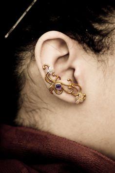 Amethyst Ear Cuff Art Nouveau Sterling Silver by DesrochersStudio, $68.00
